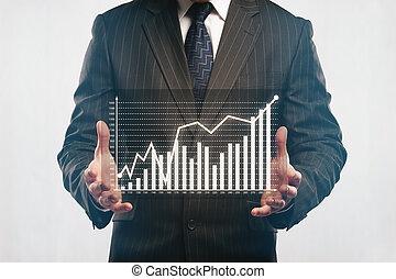 hombre de negocios, tenencia, resumen, empresa / negocio, diagrama