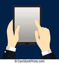hombre de negocios, tenencia, tablet-vector, plano, diseño