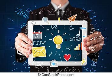 hombre de negocios, tenencia, tableta, con, apps