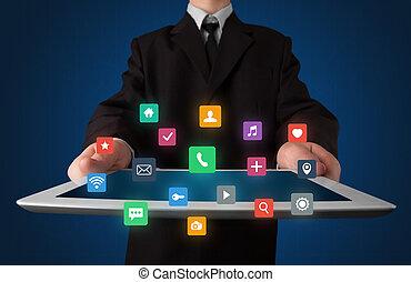 hombre de negocios, tenencia, tableta, con, multimedia, concepto