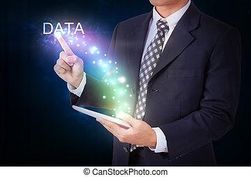 hombre de negocios, tenencia, tableta, con, planchado, data., internet, y, establecimiento de una red, concepto