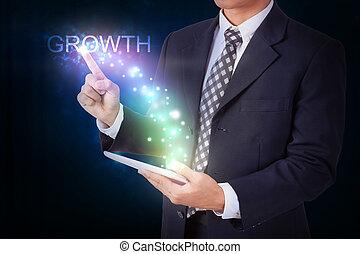 hombre de negocios, tenencia, tableta, con, planchado, growth., internet, y, establecimiento de una red, concepto
