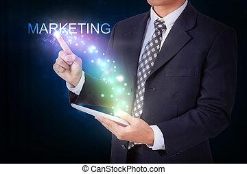 hombre de negocios, tenencia, tableta, con, planchado, marketing., internet, y, establecimiento de una red, concepto