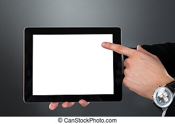 hombre de negocios, tenencia, tableta de digital, con, pantalla en blanco