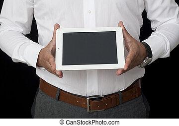 hombre de negocios, tenencia, tableta