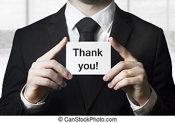 hombre de negocios, tenencia, tarjeta, gracias
