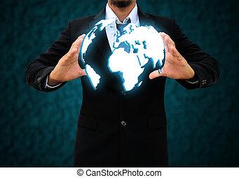 hombre de negocios, tenencia, un, mundo