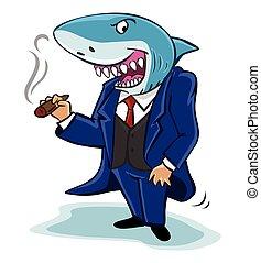 hombre de negocios, tiburón