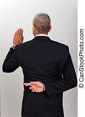 hombre de negocios, toma, juramento