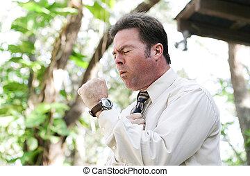 hombre de negocios, toser, con, gripe