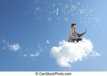 hombre de negocios, trabaja, encima, un, nube