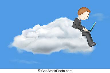 hombre de negocios, trabajando, en, computador portatil