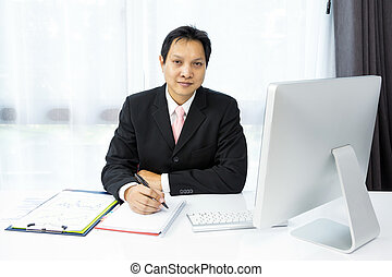 hombre de negocios, trabajando