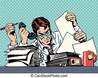 hombre de negocios, trabajando, papeles