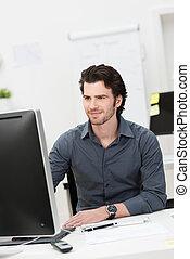 hombre de negocios, trabajar, el suyo, computadora