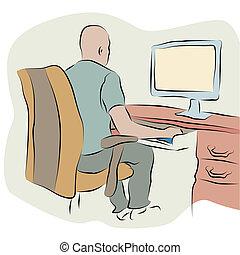 hombre de negocios, trabajar, un, computadora, dibujo lineal