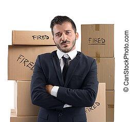 hombre de negocios, trabajo, encendido