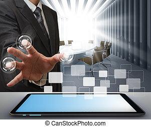 hombre de negocios, trabajo encendido, tecnología moderna