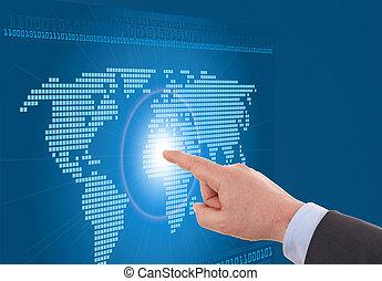 hombre de negocios, trabajo encendido, un, digital, mapa, de, el mundo