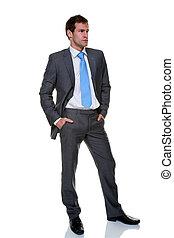 hombre de negocios traje, pinstripe, gris, aislado