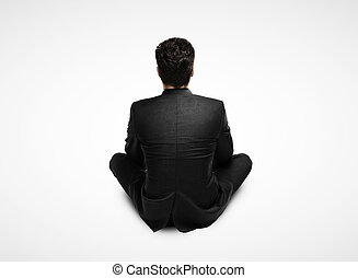 hombre de negocios traje, sentado