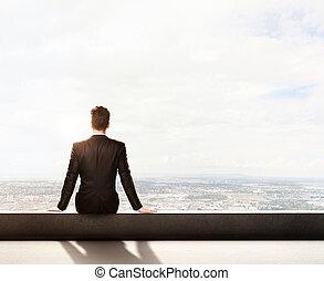 hombre de negocios traje, techo, sentado