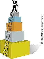 hombre de negocios, trepe al éxito, escalera, cima