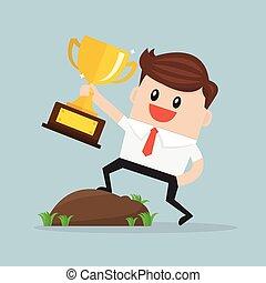 hombre de negocios, trophy., tenencia