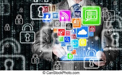 hombre de negocios, utilizar, computadora personal tableta, con, social, medios, icono, conjunto