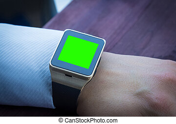 hombre de negocios, utilizar, el suyo, smartwatch, app, nueva tecnología, concepto