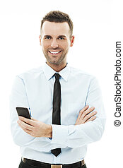 hombre de negocios, utilizar, elegante, teléfono