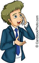 hombre de negocios, utilizar, teléfono celular
