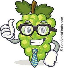 hombre de negocios, uvas verdes, carácter, caricatura