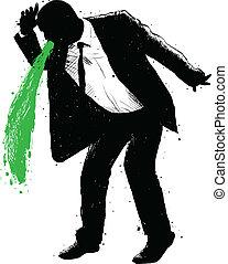 hombre de negocios, vómito, verde