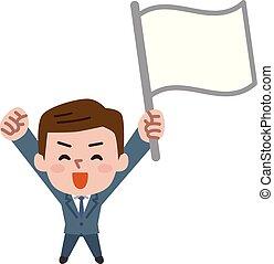 hombre de negocios, vector, bandera, tenencia, illustration.
