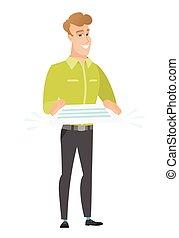 hombre de negocios, vector, contrato, ilustración, tenencia
