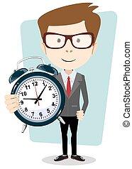 hombre de negocios, vector, reloj, tenencia, ilustración