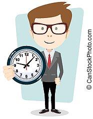 hombre de negocios, vector, reloj, tenencia
