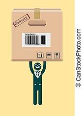hombre de negocios, vector, tenencia, package.
