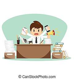 hombre de negocios, vector, trabajador, ilustración, oficina