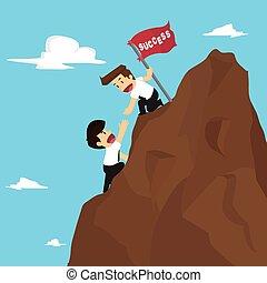 hombre de negocios, venza, trabajo en equipo, obstáculos