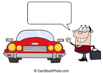 hombre de negocios, viajero, coche