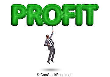 hombre de negocios, vuelo, en, ganancia, concepto
