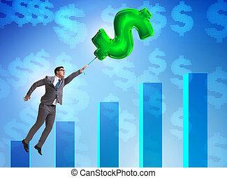 hombre de negocios, vuelo, globo, financ, dólar, encima, ...