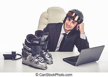 hombre de negocios, wants, vacaciones