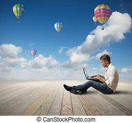 hombre de negocios, y, computador portatil