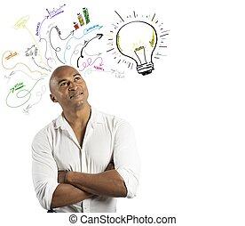 hombre de negocios, y, creativo, empresa / negocio