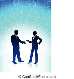 hombre de negocios, y, mujer de negocios, en, azul,...
