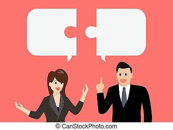hombre de negocios, y, mujer de negocios, en, conversación