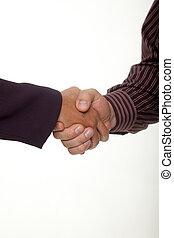 hombre de negocios, y, mujer de negocios, manos, en, apretón de manos, acuerdo